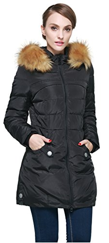 Orolay Women's Down Jacket with Faux Fur Trim Hood (2XL, Black)