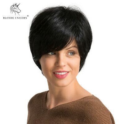 10'' Short Black Layered Human Hair Wigs for White Women Cosplay Heat Resist