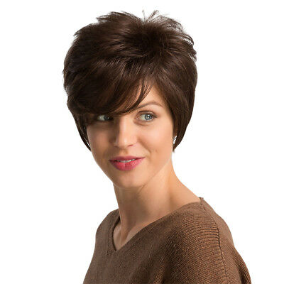 10'' Short Brown Layered Human Hair Wigs for White Women Cosplay Heat Resist