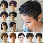100% Brazilian Human Hair Short Pixie Wigs Straight Curly Wavy for Women Wig hks