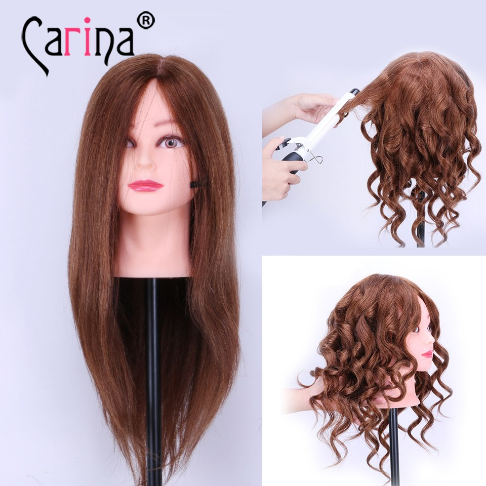 """100% Human Hair Mannequin Heads 18"""" Brown Hair Professional Styling Mannequin Head Hairdresser Practice Maniqui Head For Sale"""