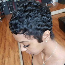 100% Human Hair Short Curly Wigs For Black Women Pixie Wig Big Curls