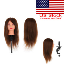100% Real Human Hair Hairdressing Training Head Dummy Model Mannequin + Clamp
