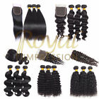 10A Brazilian Human Hair 3 Bundles with Closure Straight/Body/Deep/Loose/Curly
