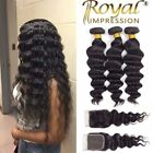10A Brazilian Human Hair Extensions Loose Wave 3 Bundles With Closure Free Part