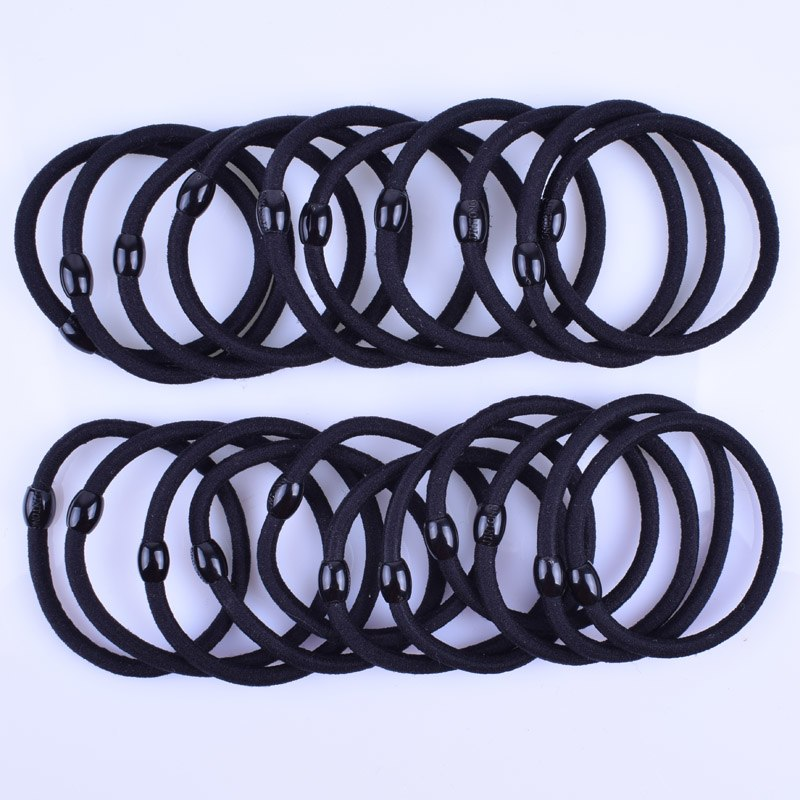 12pcs/lot 4MM Black Elastic Hair Bands Ponytail Holder Hair Ties Ring Scrunchy Rubber Bands Girls Hair Accessories Headwear