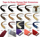 "16""-24"" 8A Seamless Premium Tape In Remy Human Hair Extensions Thick USA SELLER"