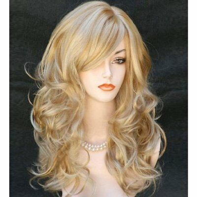 23'' Women Golden Blond Heat Resistant Long Volume Curly Wavy Hair Full Wig USA
