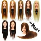 """26"""" 100% Real Hair Practice Training Head Mannequin Hairdressing Doll + Clamp US"""