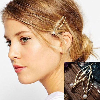 2PCS Women Vintage Pearl Leaf Hair Clip Hairband Comb Bobby Pin Barrette Hairpin