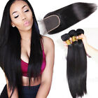 3 Bundles with Closure 100% Unprocessed Brazilian Virgin Human Hair US Stock
