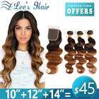 300g Ombre Human Hair Bundles with Closure Brazilian Body Wave Weave Extensions