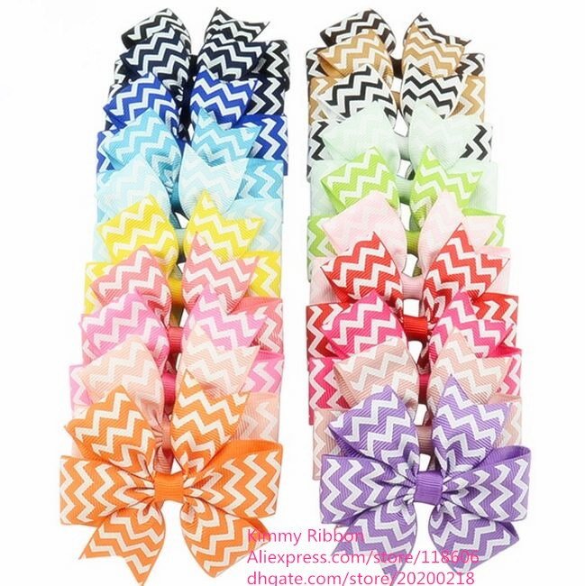 300pcs Free shipping Chevron Hair Bows For Girls Ribbon Bow With Clip Boutique Hair Bow