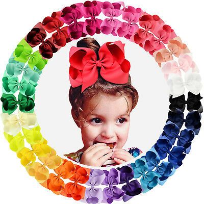 30pcs 6in Grosgrain Ribbon Big Hair Bows Alligator Clips for Girls Teens Toddler