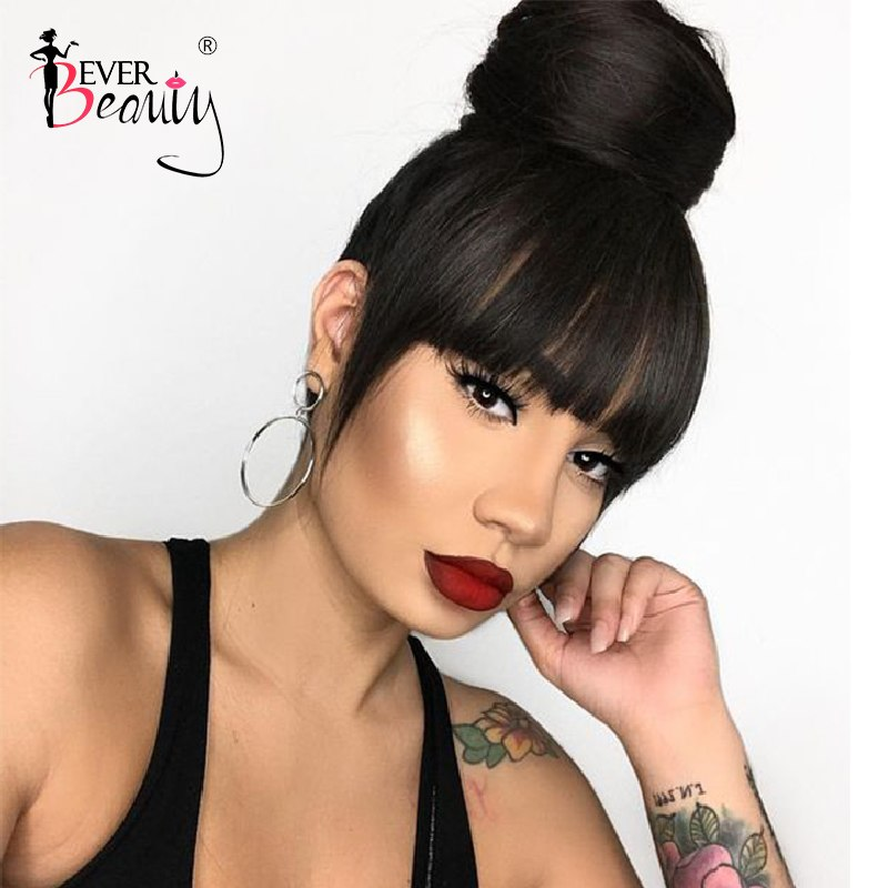 360 Lace Frontal Wig Pre Plucked With Baby Hair Brazilian Straight 360 Full Lace Front Human Hair Wigs With Bangs Ever Beauty