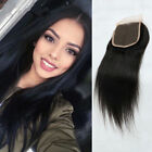 "8A 100% Virgin Straight Hair Lace Closure Brazilian Human Hair 4 x 4"" Free Part"