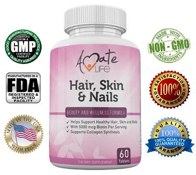 Amate Life Hair, Skin & Nails for Men and Women with Biotin Vitamin B7 Made USA
