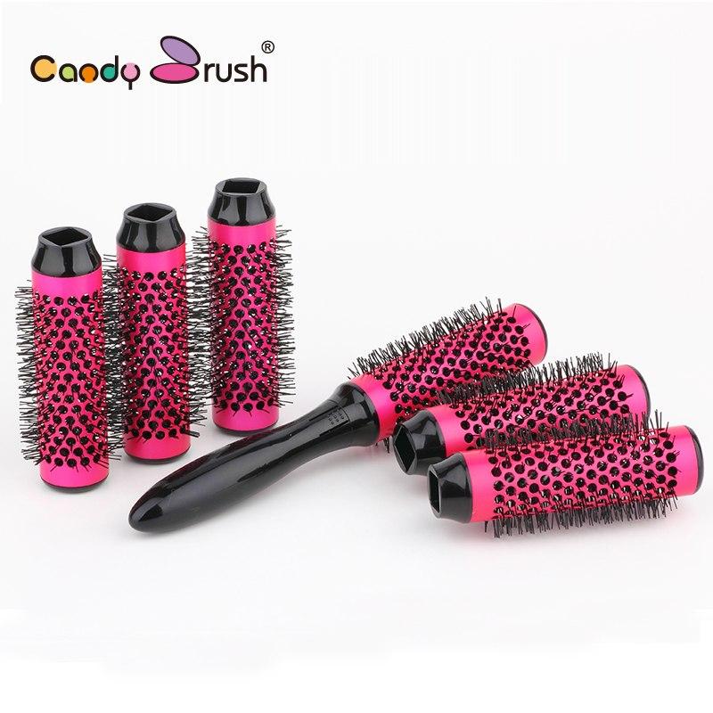 Best Round Hair Brush Set Blow Dry Thermal Hair Brush with Detachable Roller Diameter 30mm Ceramic Brush 6rollers