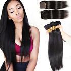 Brazilian Straight Hair 3 Bundles with Three Part Closure Virgin Human Hair USA