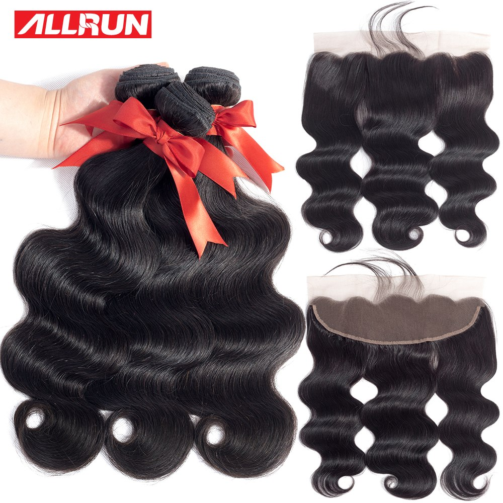 Bundles with Frontal Human Hair Weave Bundles 13x4 Lace Frontal With Bundles Brazilian Body Wave Lace Frontal Closure non Remy