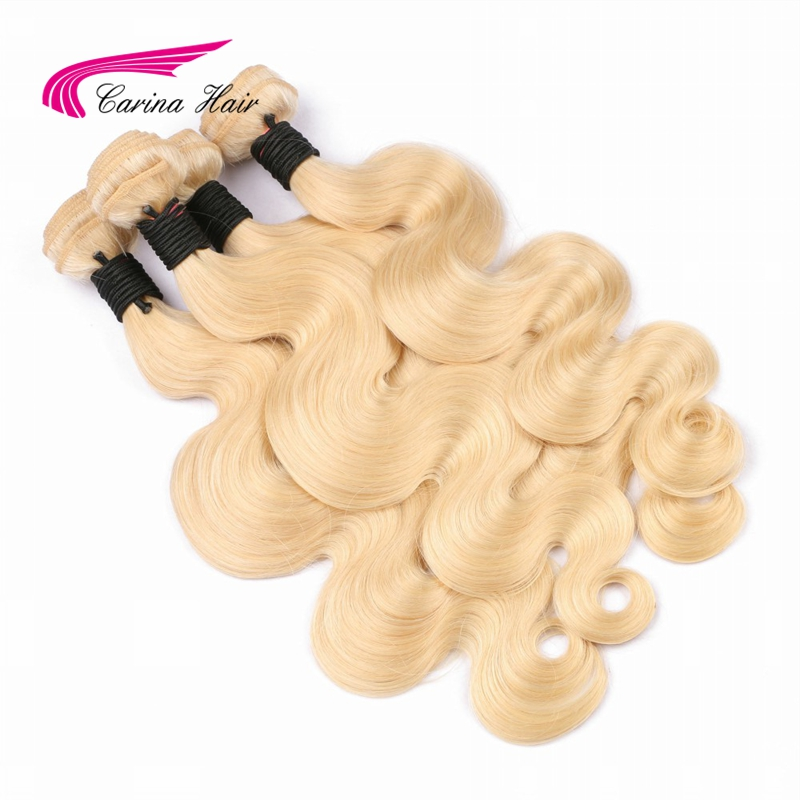 Carina Hair Blonde Brazilian Remy Human Hair Bundles 1PCS Pure 613 Color Body Wave Hair Weft 8inch-28inch Hair Extensions