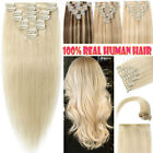 Clip in Human Hair Extensions Full Head 100% Real Remy Hair Any Colour CLEARANCE