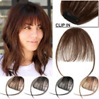 Clip In Real Remy Human Hair Extensions Thin Air Bang Fringe Hairpiece USPS T701