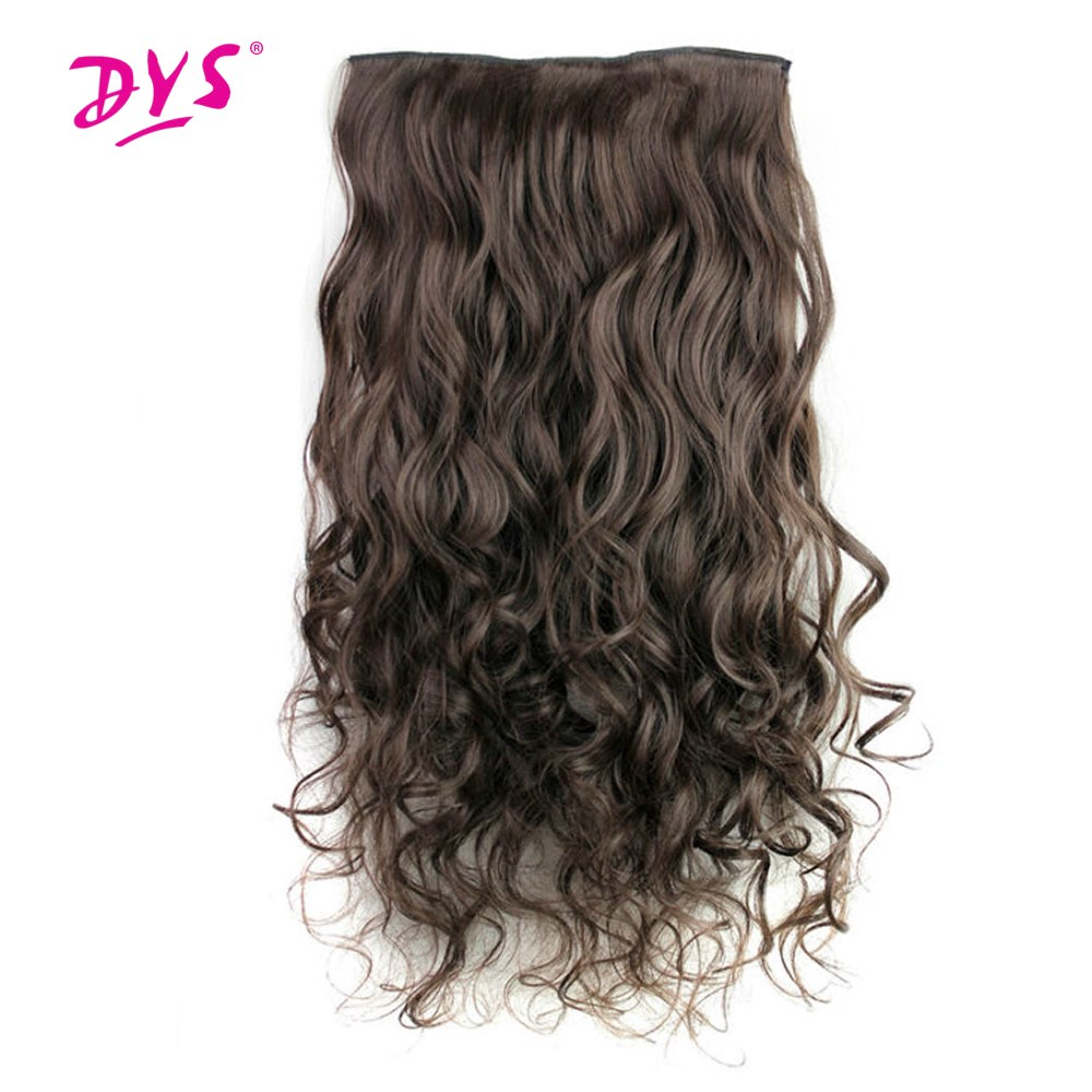 Deyngs 5 Clips in Hair Extensions One Piece Long Wavy Synthetic Wig High Temperature False Hair Hairpieces for Women 24Inch