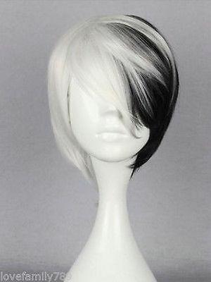 FIXSF886 short fashion white black mix cosplay Hair wig Wigs for modern women