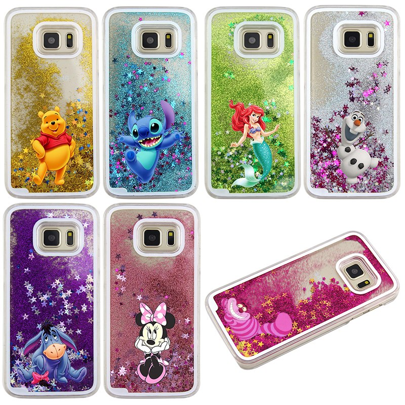 For Samsung Galaxy S7 Case Cute Stitch Mickey Shining Liquid Quicksand Mobile Phone Case Cover
