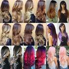 Full Head Cosplay Wig With Bangs Curly Straight Black Blonde Purple Hair Wigs n7