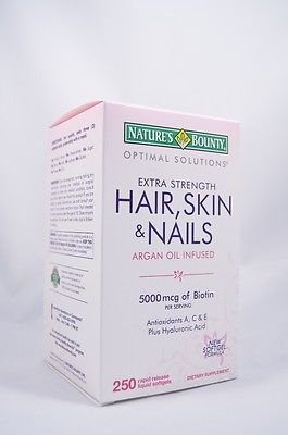 Hair Skin and Nails Nature's Bounty Vitamin 5000 mcg of Biotin 250 Softgels 2021