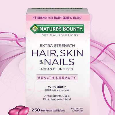 Hair Skin and Nails Nature's Bounty Vitamin 5000 mcg of Biotin 250 Softgels *NEW