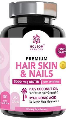 Hair Skin and Nails Vitamins - Biotin 5000 mcg - ONE Pill a Day (30ct)