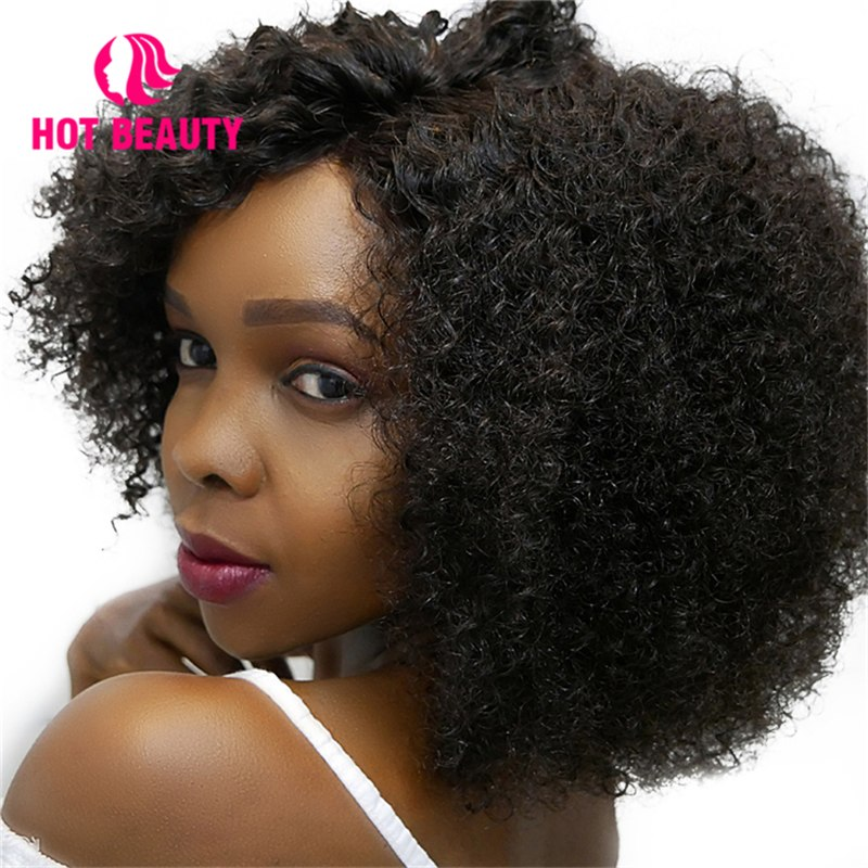 Hot Beauty Hair Kinky Curly Wig 250 Density Lace Front 100% Human Hair Wigs Brazilian Remy Hair Natural Color Wig for Women