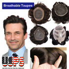 Human Hair Toupee Hairpieces For Men Replacement Wigs Natural Wave Straight RW