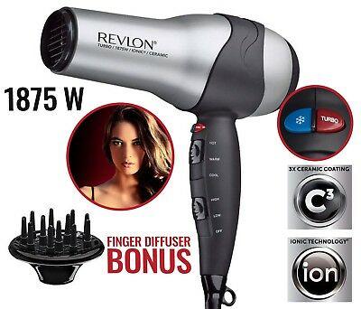 IONIC HAIR DRYER W/ Diffuser Woman Professional Volumizing Turbo Blower 1875W