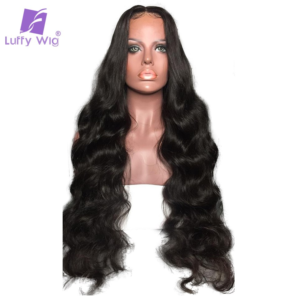 Luffy PrePlucked Human Hair Lace Front Wigs With Baby Hair 180% Density 13*6 Deep Part Natural Peruvian Non-remy Hair For Women