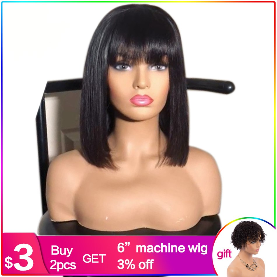 Luffy Straight Short Bob Lace Front Human Hair Wigs With Bangs Natural Color Indian Non-Remy Hair 130 Denisty Bob Wigs For Women