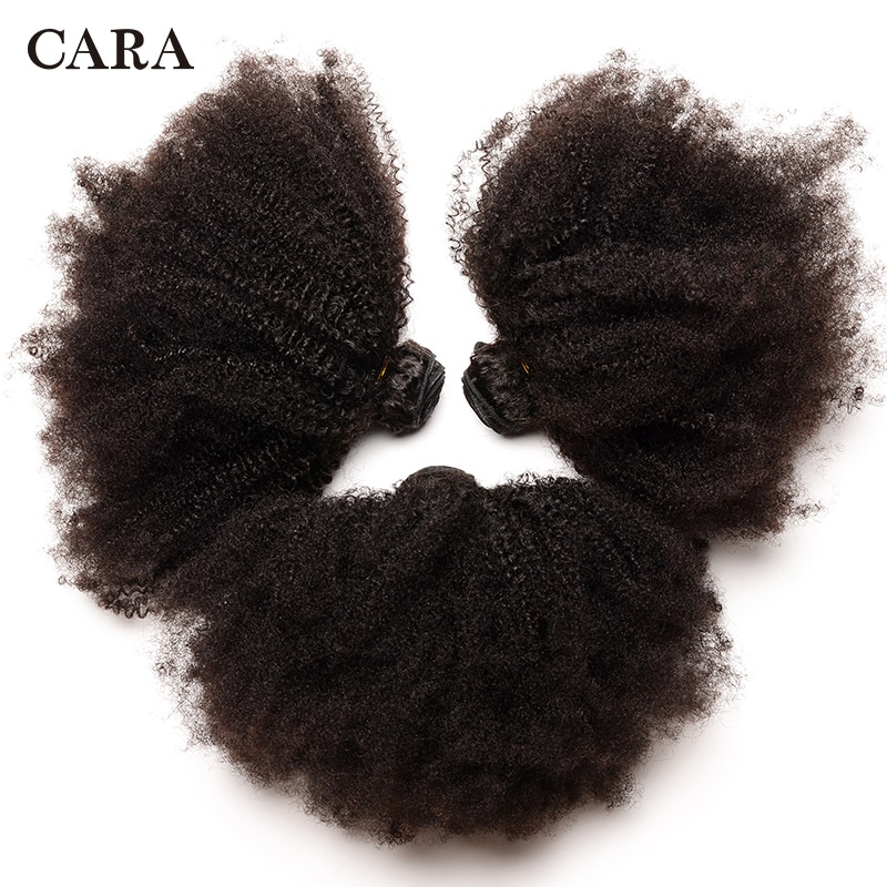 Mongolian Afro Kinky Curly Hair Human Hair Bundles 4B 4C Hair Weave Remy Natural Human Hair Extension CARA Products 1&3 Bundles