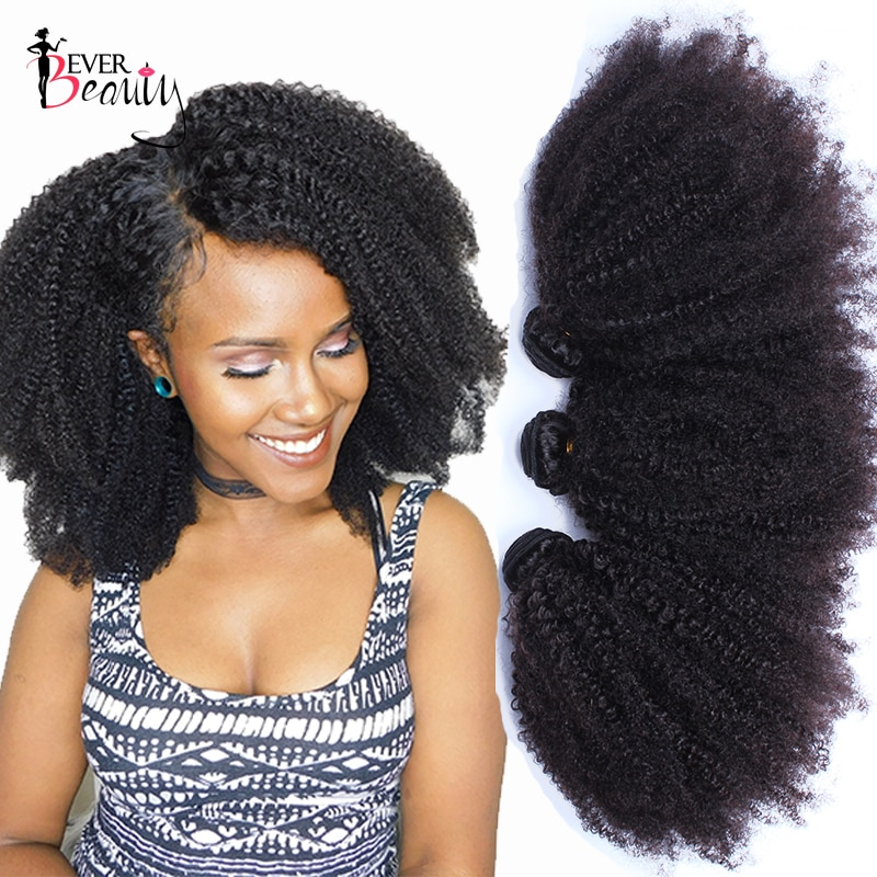 Mongolian Afro Kinky Curly Weave Human Hair Extensions 4B 4C Virgin Hair 1 Or 3 Bundles Natural Black 10-24inch Ever Beauty