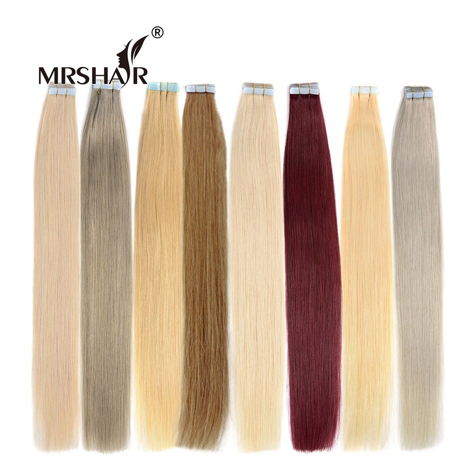 "MRS HAIR 14"" 18"" 22"" Remy Tape In Human Hair Extensions Straight Skin Weft Hair On Adhesive Seamless Hair 20pcs"