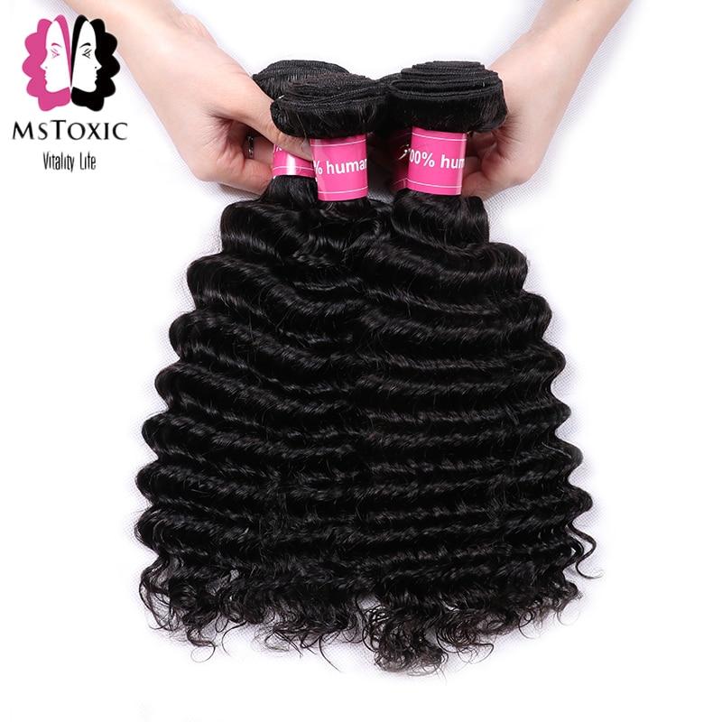 Mstoxic Deep Wave Bundles Brazilian Hair Weave Bundles 8-30 Inch Human Hair Bundles Non Remy Hair Extensions Natural Color