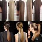 NATURAL Ponytail Clip In Hair Extension Wrap Pony Tail Fake Hairpiece as human