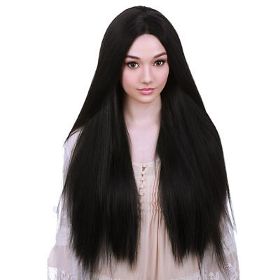 Natural Synthetic Wig Straight Black 26 inches Long Hair Party Wigs For Women