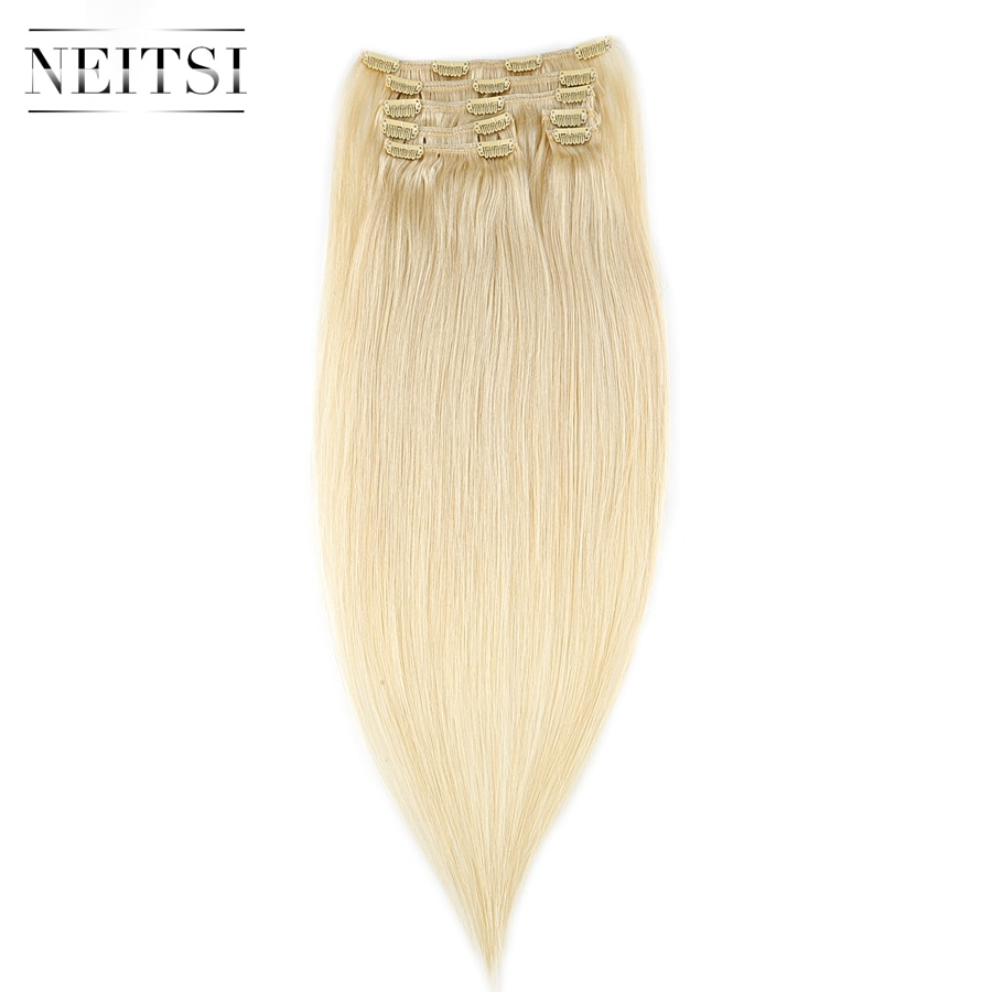 """Neitsi Straight Machine Made Remy Clip In On Hair Full Head 100% Human Hair Extensions 20"""" 24"""" 100g 7pcs 16 Clips 10 Colors"""