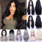 New Synthetic Lace Front Wig Long Black Wavy Hair Hand Tied Wigs For Women W15