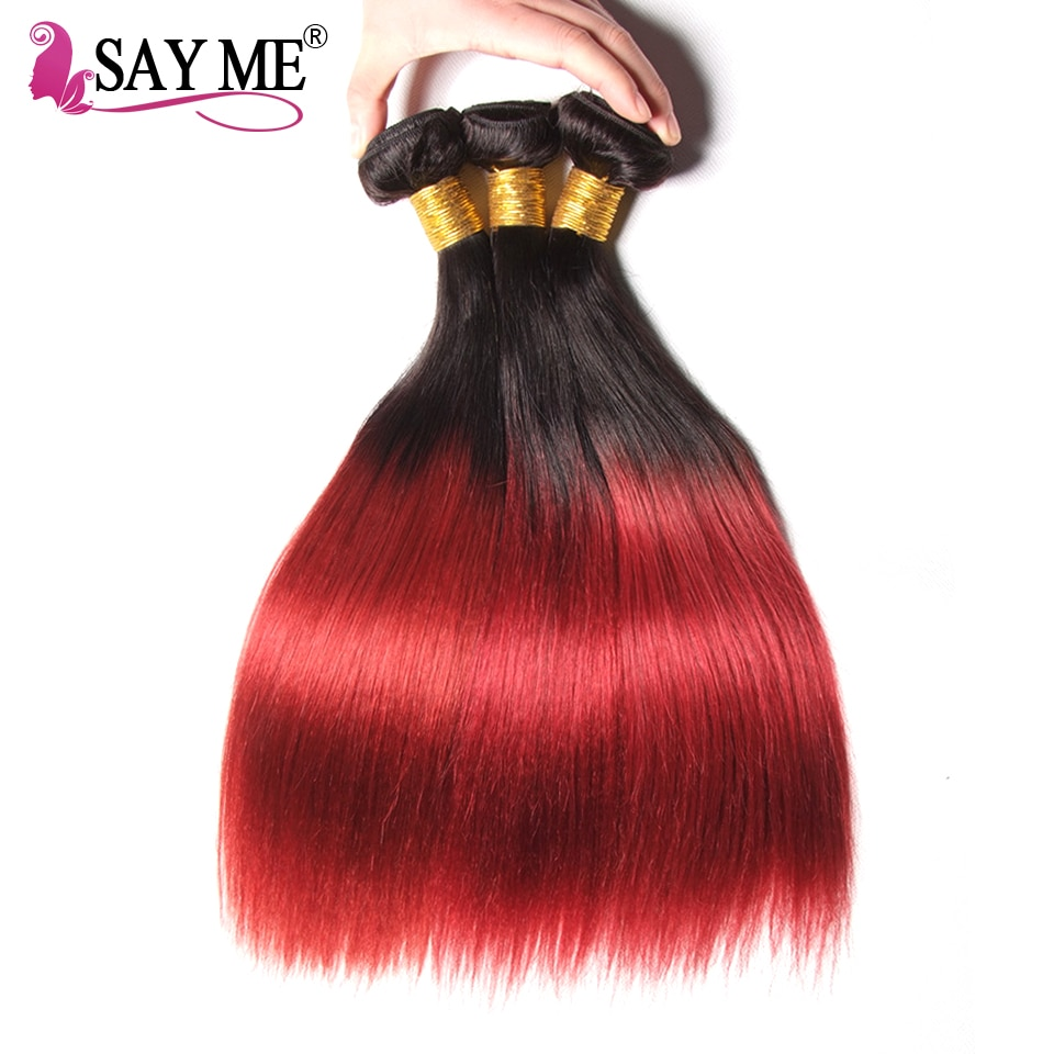 Ombre Brazilian Hair Straight 1b/Burgundy Human Hair Weave Bundles Two Tone Non Remy Red Hair Weft Extensions 1/ 3 / 4 Bundles