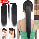One Piece 100% Remy Human Hair Wrap Around Ponytail Clip In Hair Extensions RW