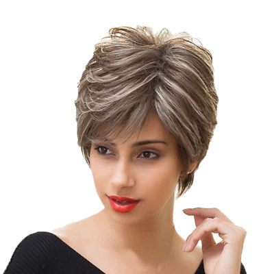 Real Human Hair Wig Short Straight Brown White Highlight Hair Wigs for Women